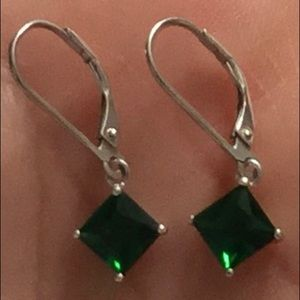 Silver Earrings with Dark Green Crystals